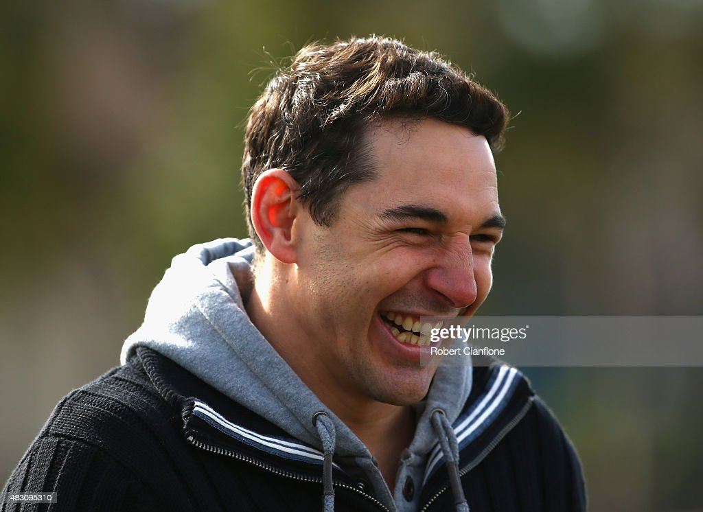 Billy Slater looks on during a Melbourne Storm media session at Gosch's Paddock on August 6, 2015 in Melbourne, Australia.