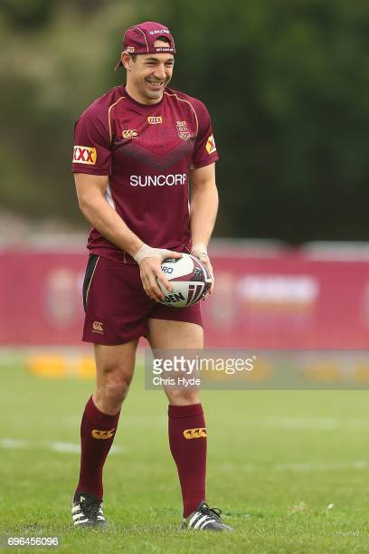 Billy Slater looks on during a Queensland Maroons State of Origin training session at Intercontinental Sanctuary Cove Resort on June 16 2017 in...