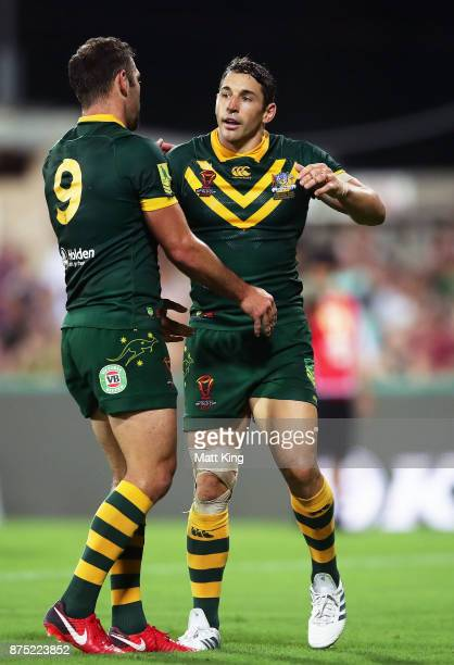 Billy Slater of Australia celebrates with Cameron Smith after scoring a try during the 2017 Rugby League World Cup Quarter Final match between...