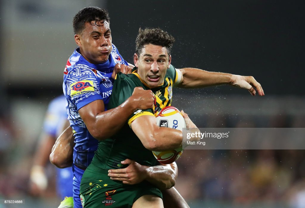 Billy Slater of Australia is tackled during the 2017 Rugby League World Cup Quarter Final match between Australia and Samoa at Darwin Stadium on November 17, 2017 in Darwin, Australia.