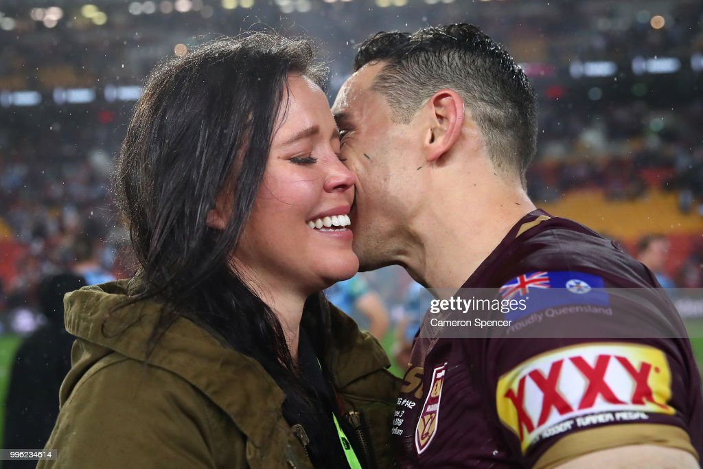 Billy Slater of Queensland shares a moment with his wife Nicole Slater after winning game three of the State of Origin series between the Queensland Maroons and the New South Wales Blues at Suncorp Stadium on July 11, 2018 in Brisbane, Australia.