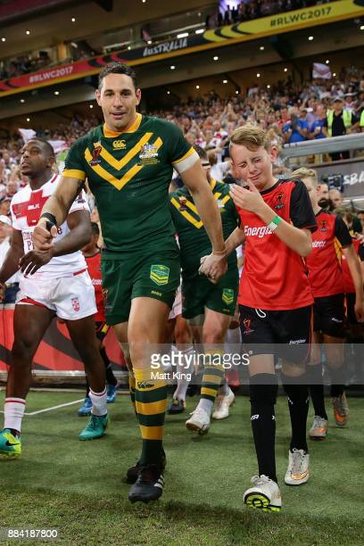 Billy Slater of the Kangaroos walks onto the field before the 2017 Rugby League World Cup Final between the Australian Kangaroos and England at...