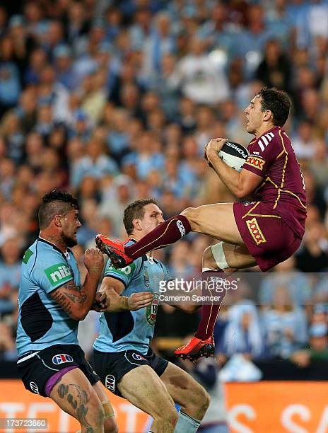 Billy Slater of the Maroons catches a high ball during game three of the ARL State of Origin series between the New South Wales Blues and the...