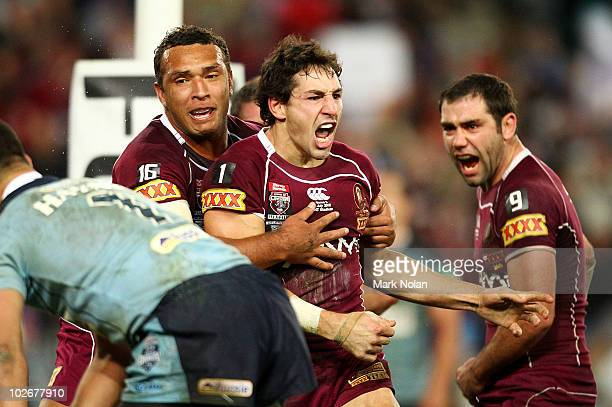 Billy Slater of the Maroons celebrates after scoring during game three of the ARL State of Origin series between the New South Wales Blues and the...