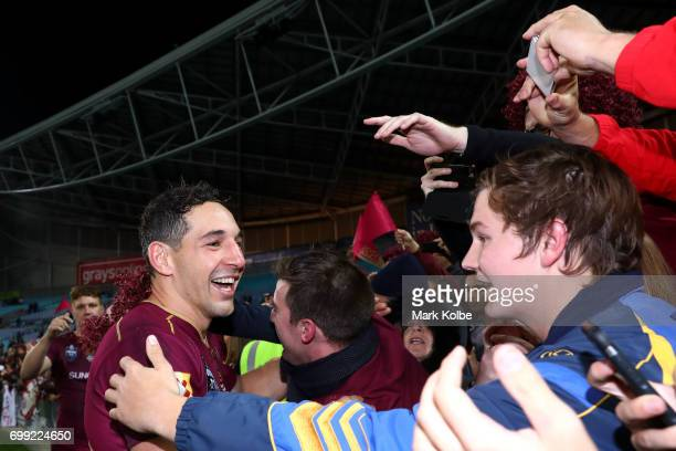 Billy Slater of the Maroons celebrates victory with the crowd during game two of the State Of Origin series between the New South Wales Blues and the...