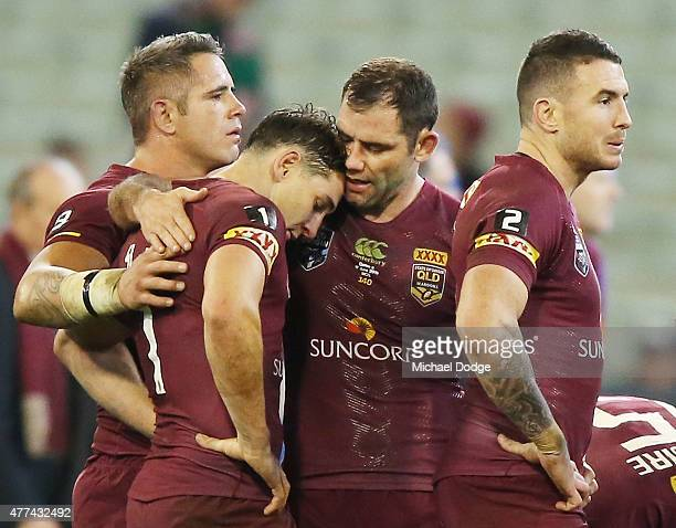 Billy Slater of the Maroons is consoled by Cameron Smith of the Maroons after their defeat during game two of the State of Origin series between the...