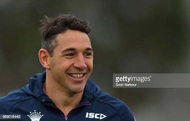 Billy Slater of the Melbourne Storm looks on during a Melbourne Storm NRL media session at Gosch's Paddock on May 16 2018 in Melbourne Australia
