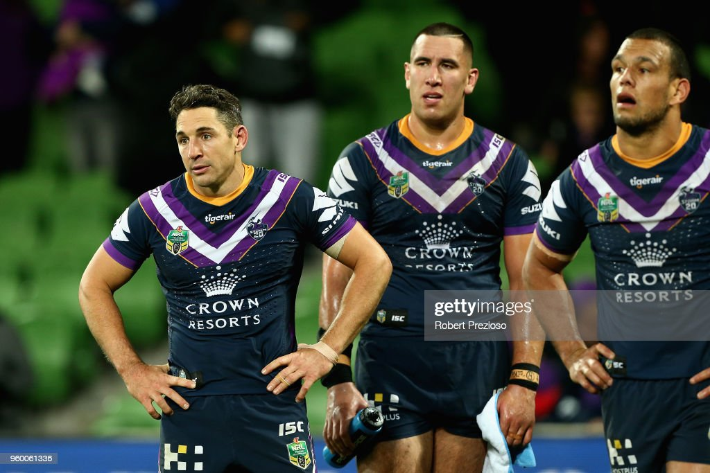 Billy Slater of the Melbourne Storm looks on during the round 11 NRL match between the Melbourne Storm and the Manly Sea Eagles at AAMI Park on May 19, 2018 in Melbourne, Australia.