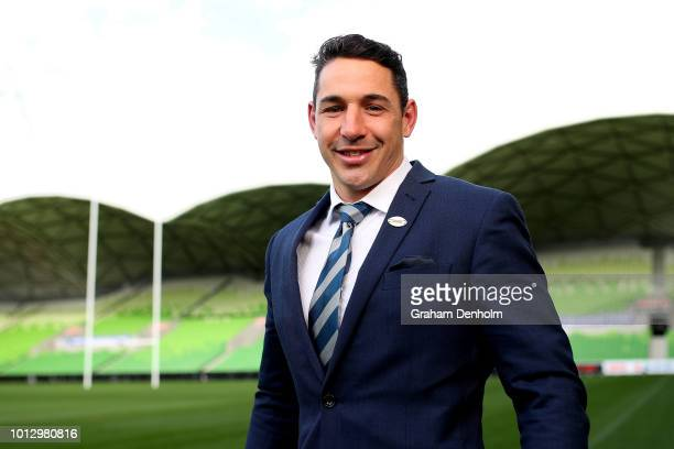 Billy Slater of the Melbourne Storm poses during a Melbourne Storm NRL media opportunity at AAMI Park on August 8 2018 in Melbourne Australia