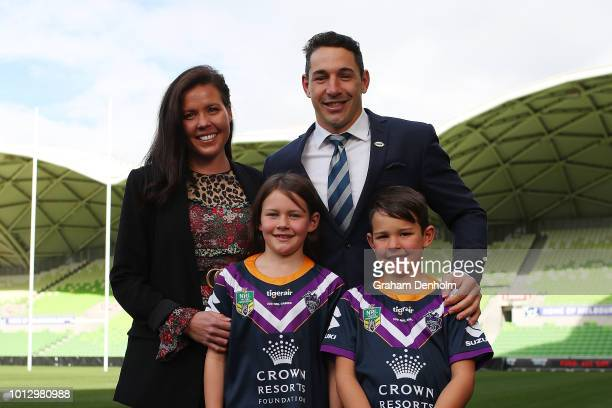 Billy Slater of the Melbourne Storm poses with his wife Nicole and his children Tyla Rose and Jake during a Melbourne Storm NRL media opportunity at...