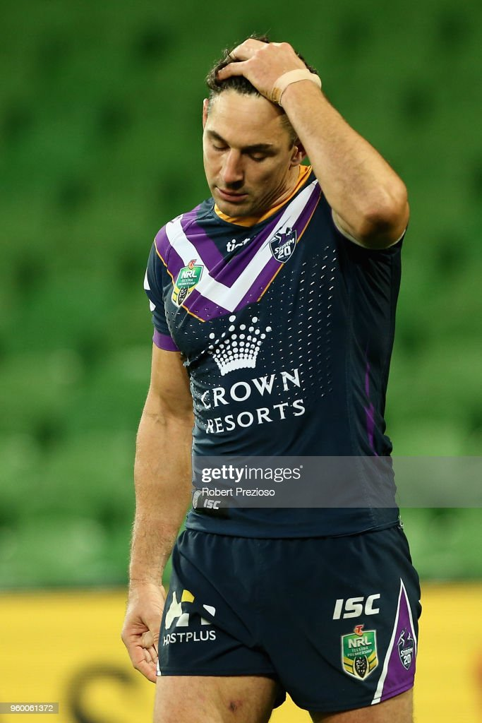 Billy Slater of the Melbourne Storm reacts during the round 11 NRL match between the Melbourne Storm and the Manly Sea Eagles at AAMI Park on May 19, 2018 in Melbourne, Australia.