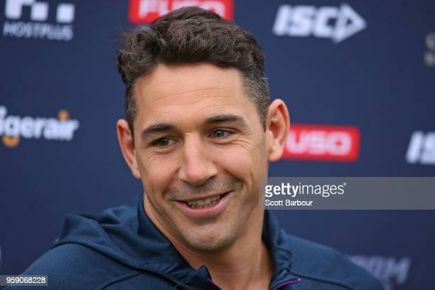 Billy Slater of the Melbourne Storm speaks to the media during a Melbourne Storm NRL media session at Gosch's Paddock on May 16 2018 in Melbourne...