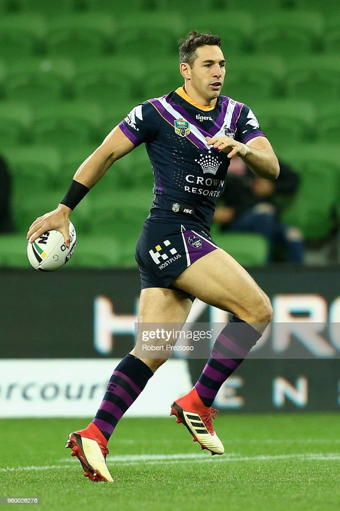 Billy Slater of the Melbourne Storm warms up during the round 11 NRL match between the Melbourne Storm and the Manly Sea Eagles at AAMI Park on May 19, 2018 in Melbourne, Australia.
