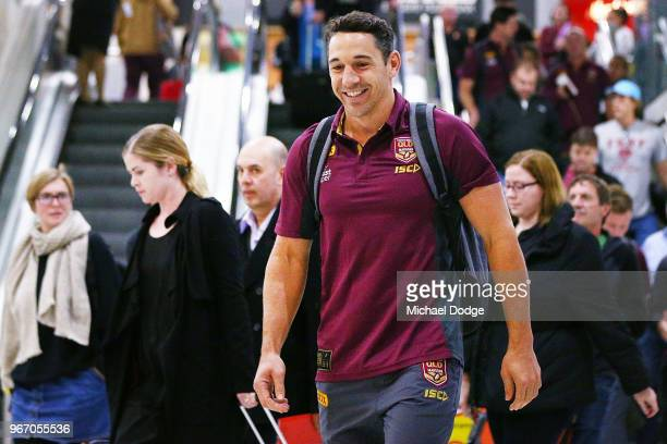Billy Slater of the Queensland Maroons arrives to address the media during a press conference at Melbourne Airport on June 4 2018 in Melbourne...