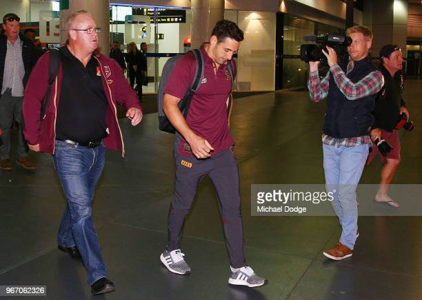 Billy Slater of the Queensland Maroons leaves after a press conference at Melbourne Airport on June 4 2018 in Melbourne Australia Slater has ruled...