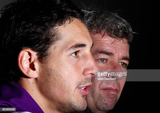 Billy Slater of the Storm and Club CEO Brian Waldron address the media during a Melbourne Storm press conference to announce Slaters contract...