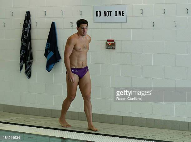 Billy Slater of the Storm arrives for a recovery session at AAMI Park on March 22 2013 in Melbourne Australia