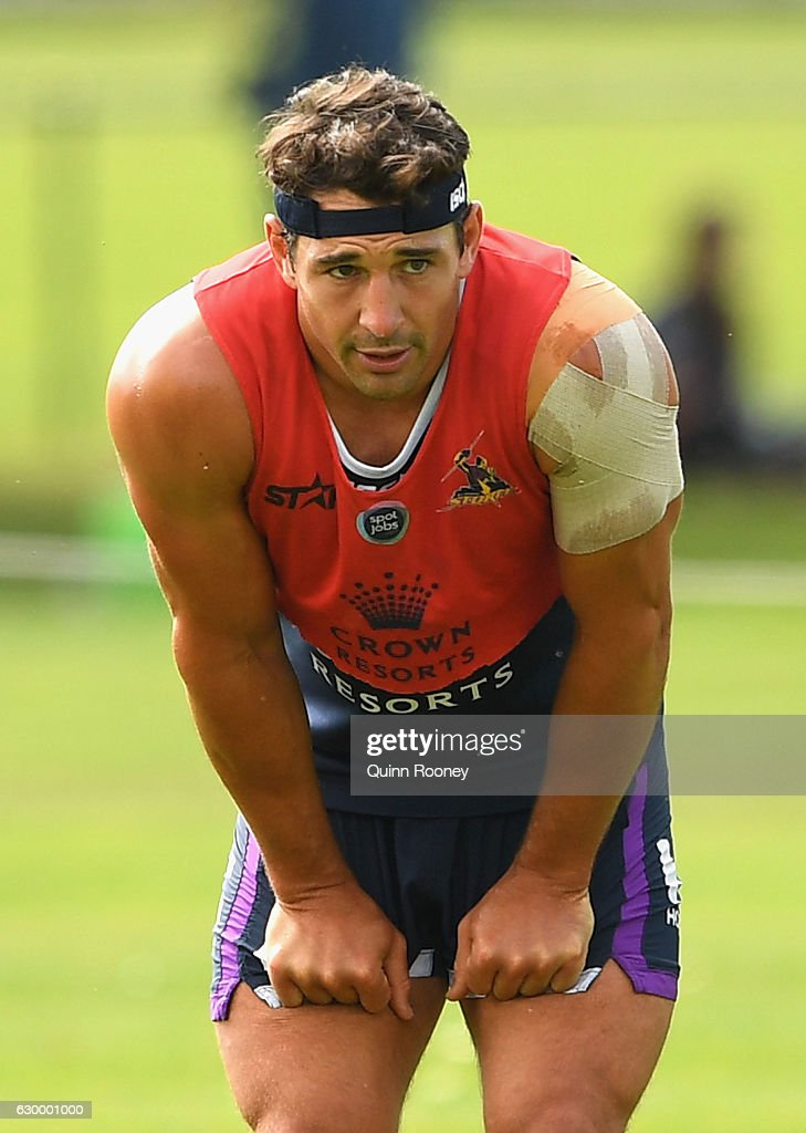 Billy Slater of the Storm catches his breath during a Melbourne Storm NRL training session at Gosch's Paddock on December 16, 2016 in Melbourne, Australia.