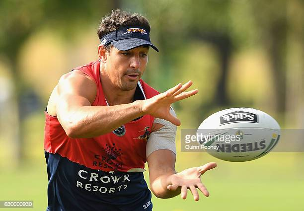 Billy Slater of the Storm catches the ball during a Melbourne Storm NRL training session at Gosch's Paddock on December 16 2016 in Melbourne Australia