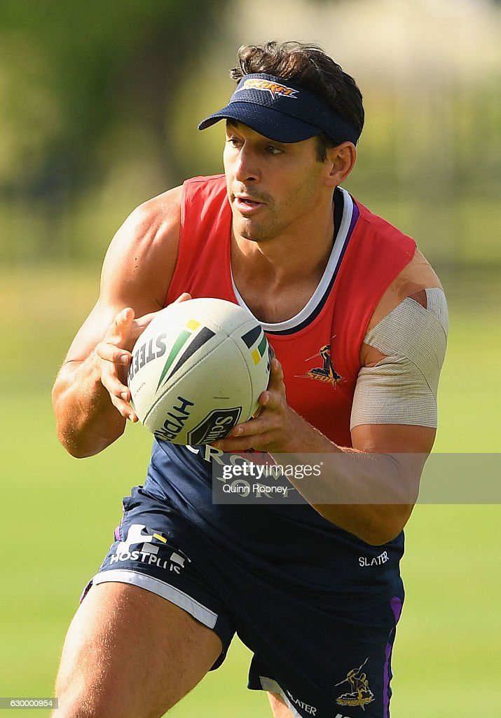 Billy Slater of the Storm catches the ball during a Melbourne Storm NRL training session at Gosch's Paddock on December 16, 2016 in Melbourne, Australia.