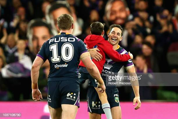 Billy Slater of the Storm celebrates a win during the NRL Preliminary Final match between the Melbourne Storm and the Cronulla Sharks at AAMI Park on...