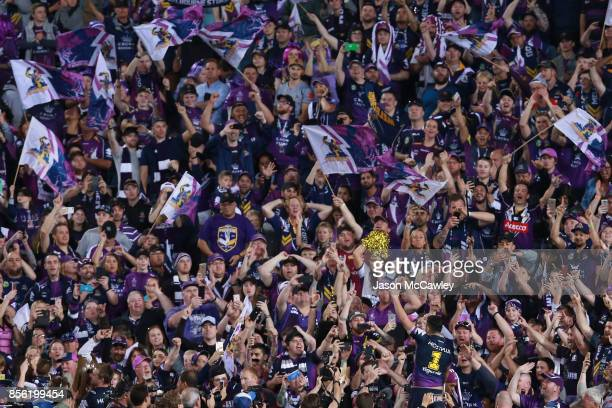 Billy Slater of the Storm celebrates after winning the 2017 NRL Grand Final match between the Melbourne Storm and the North Queensland Cowboys at ANZ...