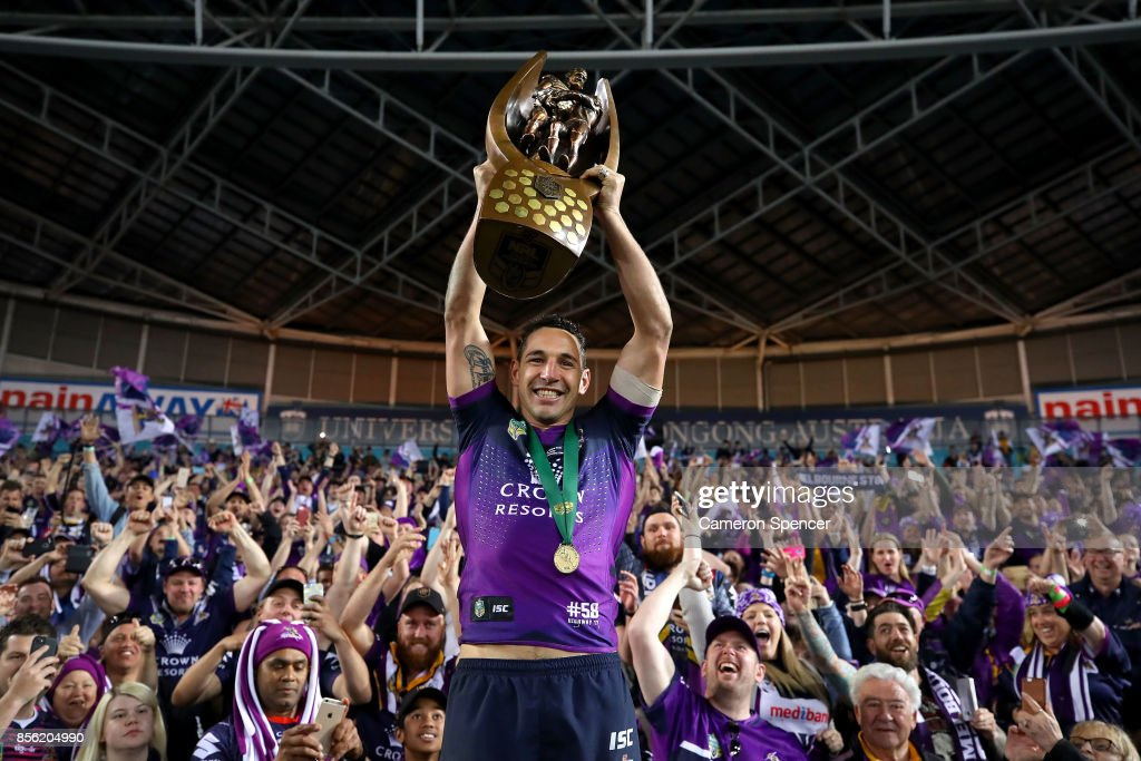 Billy Slater of the Storm celebrates after winning the 2017 NRL Grand Final match between the Melbourne Storm and the North Queensland Cowboys at ANZ Stadium on October 1, 2017 in Sydney, Australia.