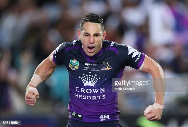 Billy Slater of the Storm celebrates scoring a try during the 2017 NRL Grand Final match between the Melbourne Storm and the North Queensland Cowboys...