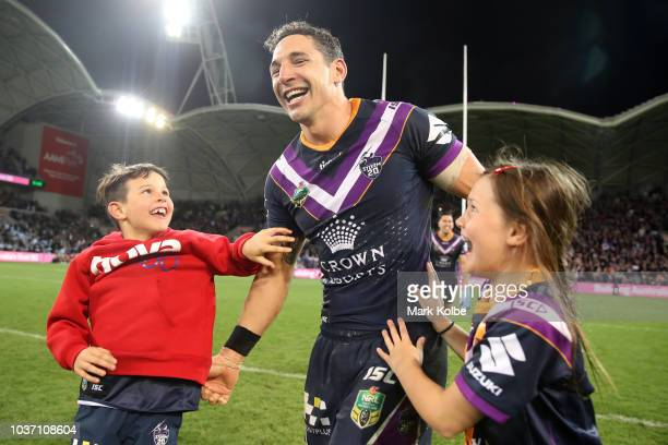 Billy Slater of the Storm celebrates with his children after winning the NRL Preliminary Final match between the Melbourne Storm and the Cronulla...