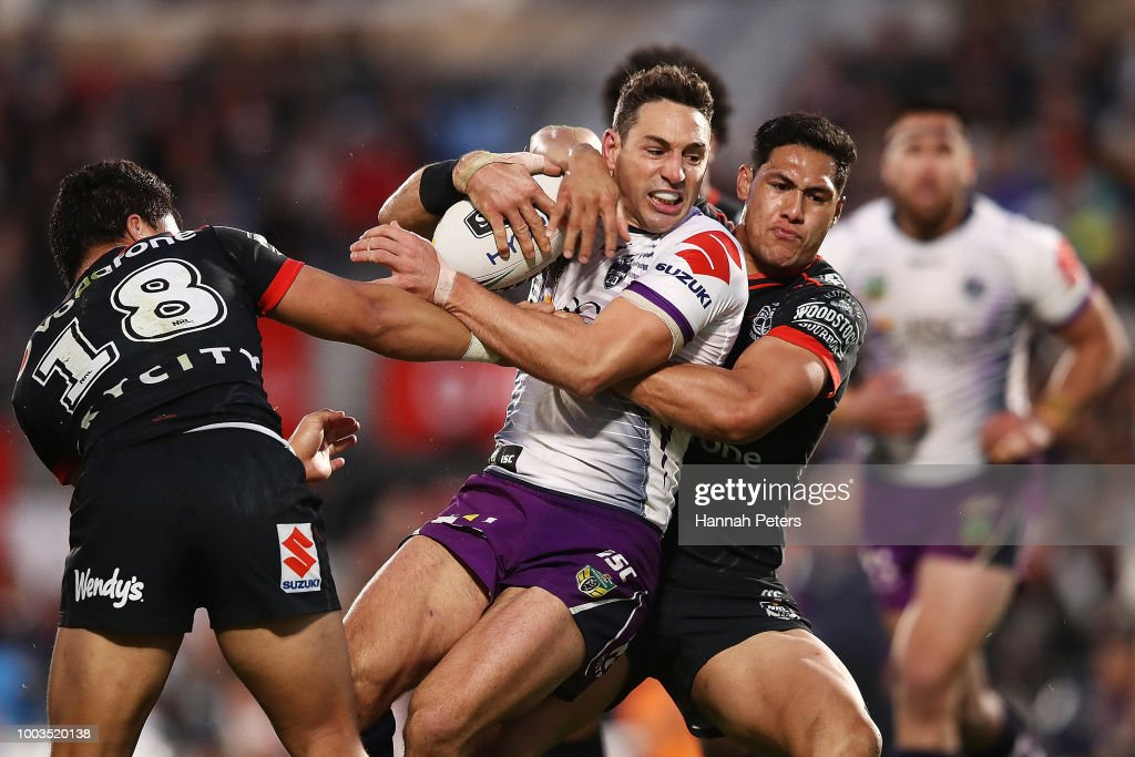 Billy Slater of the Storm charges forward during the round 19 NRL match between the New Zealand Warriors and the Melbourne Storm at Mt Smart Stadium on July 22, 2018 in Auckland, New Zealand.