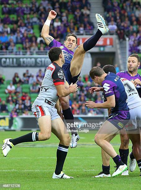 Billy Slater of the Storm competes for the ball during the round five NRL match between the Melbourne Storm and the New Zealand Warriors at AAMI Park...