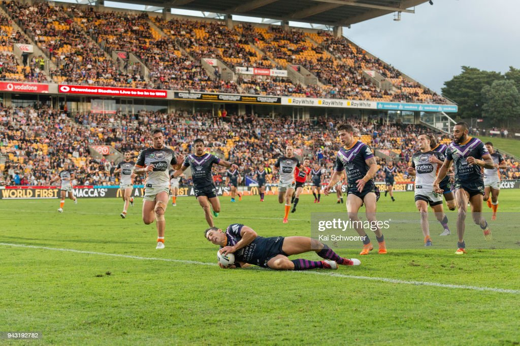 Billy Slater of the Storm dives over to score a try during the round five NRL match between the Wests Tigers and the Melbourne Storm at Mt Smart Stadium on April 7, 2018 in Auckland, New Zealand.