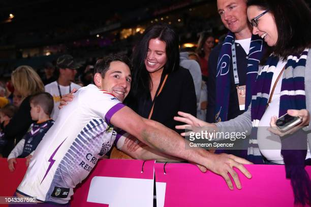 Billy Slater of the Storm embraces his wife Nicole after his final NRL game following the 2018 NRL Grand Final match between the Melbourne Storm and...