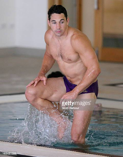 Billy Slater of the Storm gets out of the water during a Melbourne Storm NRL recovery session at AAMI Park on March 11 2013 in Melbourne Australia