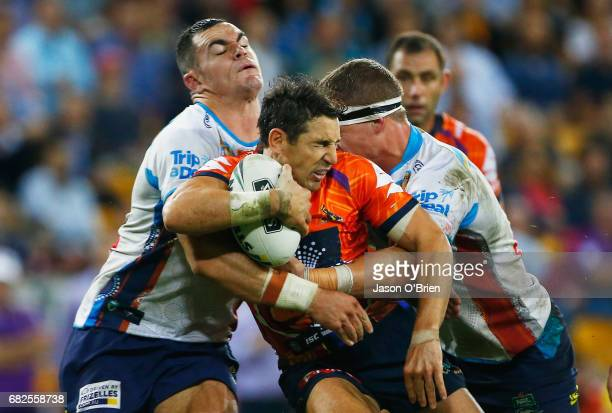 Billy Slater of the Storm in action during the round 10 NRL match between the Melbourne Storm and the Gold Coast Titans at Suncorp Stadium on May 13...
