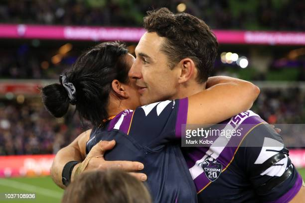 Billy Slater of the Storm is congratulated by his wife Nicole Slater after winning the NRL Preliminary Final match between the Melbourne Storm and...