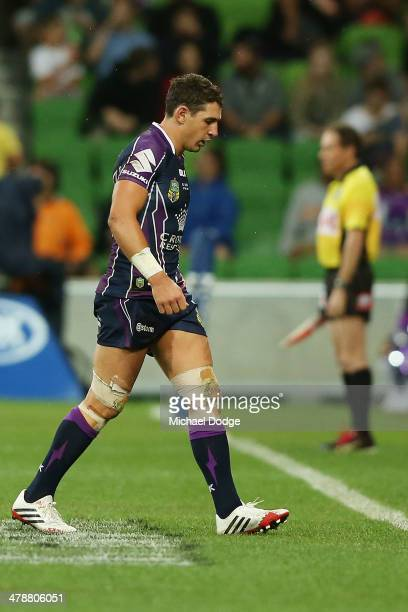 Billy Slater of the Storm is sent off the ground during the round two NRL match between the Melbourne Storm and the Penrith Panthers at AAMI Park on...