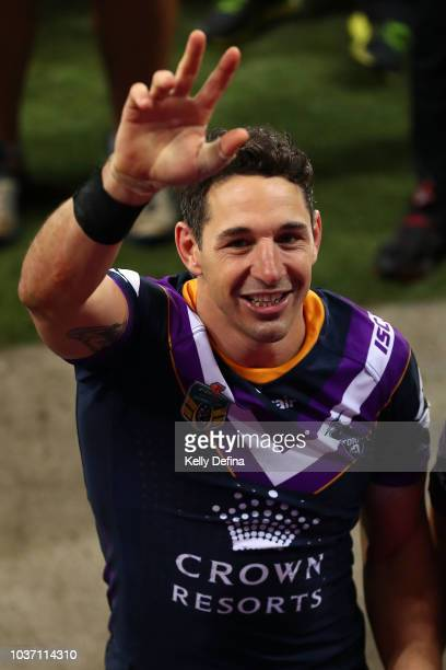 Billy Slater of the Storm leaves the field after playing his final home game and winning the NRL Preliminary Final match between the Melbourne Storm...