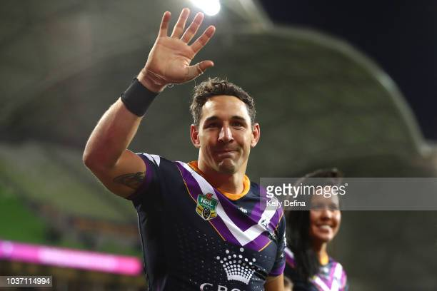Billy Slater of the Storm leaves the field with his family after playing his final home game and winning the NRL Preliminary Final match between the...