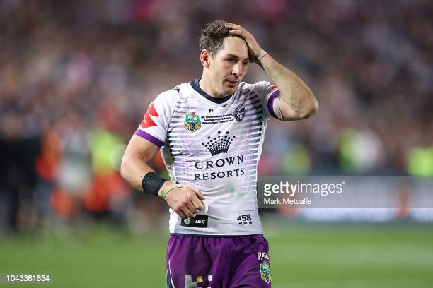 Billy Slater of the Storm looks dejected after defeat in the 2018 NRL Grand Final match between the Melbourne Storm and the Sydney Roosters at ANZ...