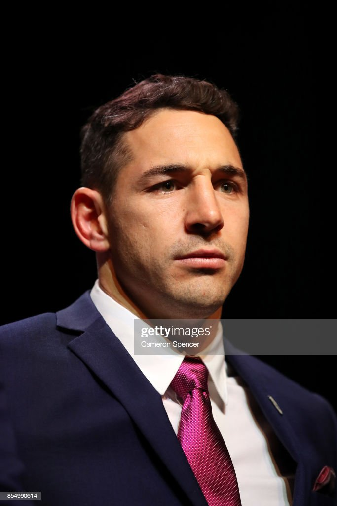 Billy Slater of the Storm looks on during the NRL Fan Day at Luna Park on September 28, 2017 in Sydney, Australia.