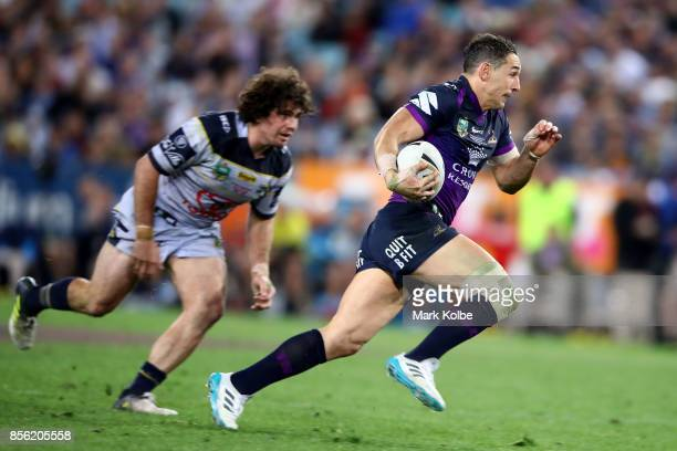 Billy Slater of the Storm makes a break during the 2017 NRL Grand Final match between the Melbourne Storm and the North Queensland Cowboys at ANZ...