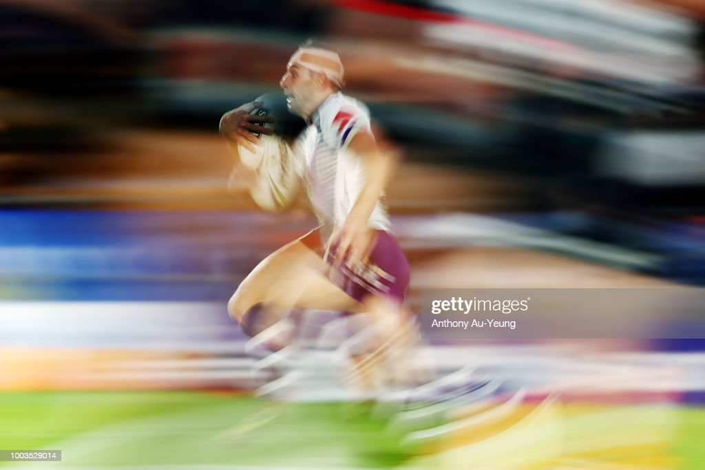 Billy Slater of the Storm makes a run during the round 19 NRL match between the New Zealand Warriors and the Melbourne Storm at Mt Smart Stadium on July 22, 2018 in Auckland, New Zealand.