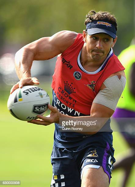 Billy Slater of the Storm passes the ball during a Melbourne Storm NRL training session at Gosch's Paddock on December 16 2016 in Melbourne Australia