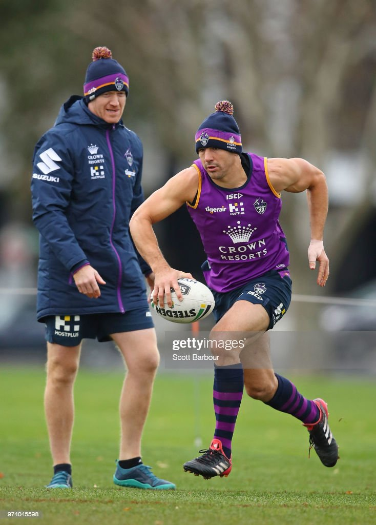 Billy Slater of the Storm performs a fitness test during a Melbourne Storm NRL training session at Gosch's Paddock on June 14, 2018 in Melbourne, Australia.