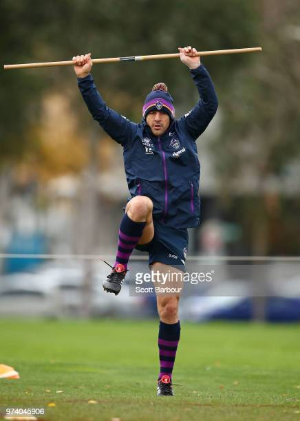 Billy Slater of the Storm performs a fitness test during a Melbourne Storm NRL training session at Gosch's Paddock on June 14 2018 in Melbourne...
