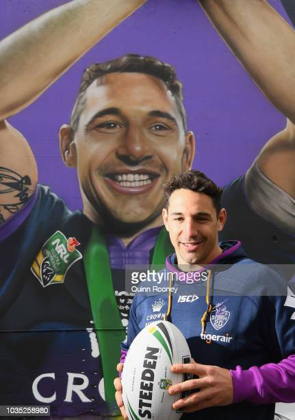 Billy Slater of the Storm poses infront of graffitti mural of himself at Richmond Station during a Melbourne Storm NRL media opportunity at Richmond...