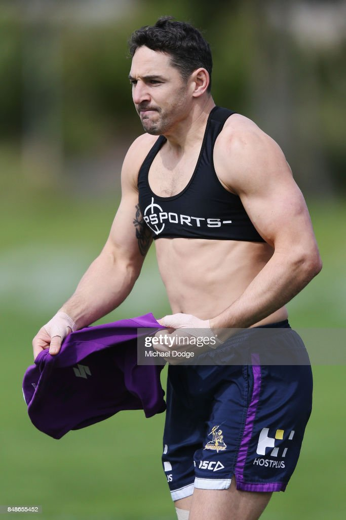 Billy Slater of the Storm prepares during a Melbourne Storm NRL training session at AAMI Park on September 18, 2017 in Melbourne, Australia.