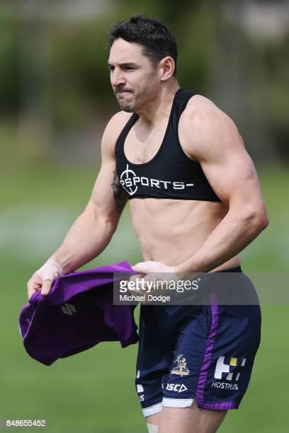 Billy Slater of the Storm prepares during a Melbourne Storm NRL training session at AAMI Park on September 18 2017 in Melbourne Australia