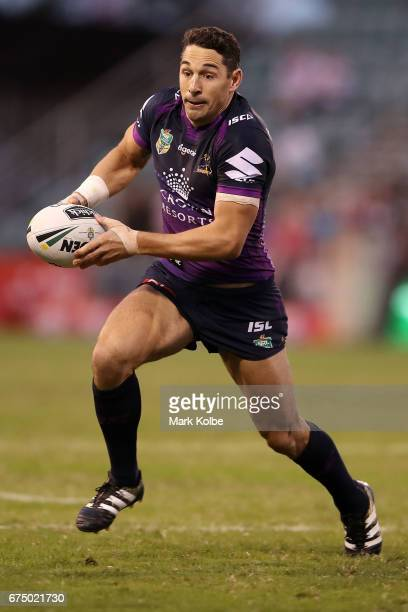 Billy Slater of the Storm runs the ball during the round nine NRL match between the St George Illawarra Dragons and the Melbourne Storm at WIN...